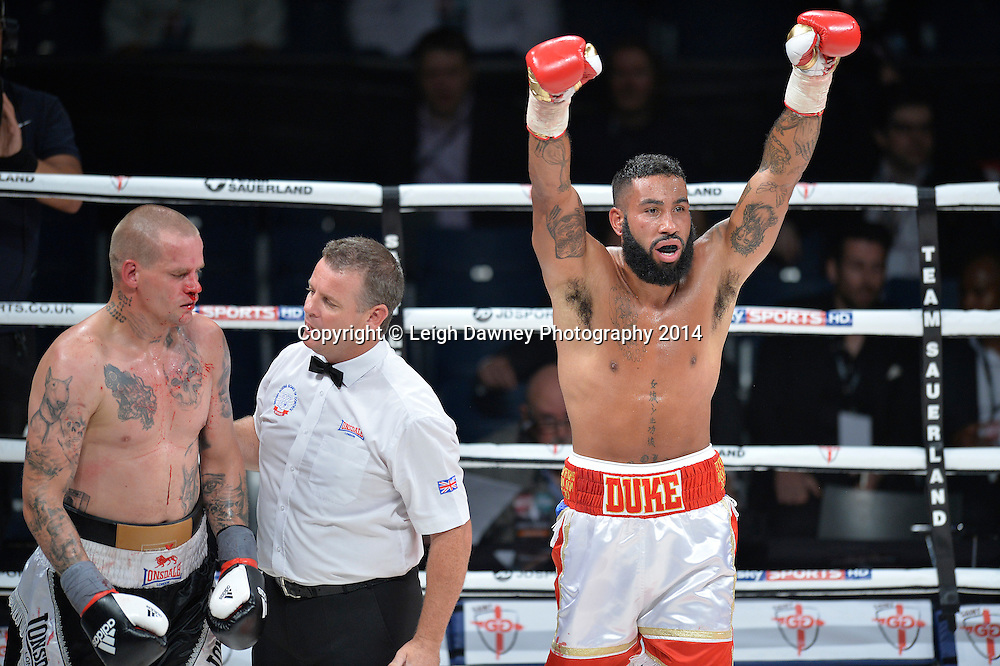Luke Watkins celebrates after defeating David Vicena in a Cruiserweight contest at the SSE Wembley Arena, London on the 20th September 2014. Sauerland Promotions. Credit: Leigh Dawney Photography.