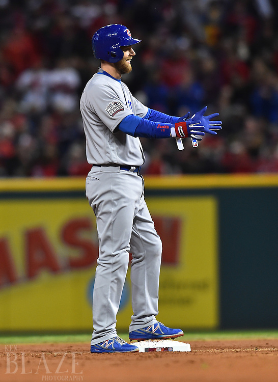 Oct 25, 2016; Cleveland, OH, USA; Chicago Cubs outfielder Ben Zobrist after hitting a double against the Cleveland Indians in the second inning in game one of the 2016 World Series at Progressive Field. Mandatory Credit: Ken Blaze-USA TODAY Sports