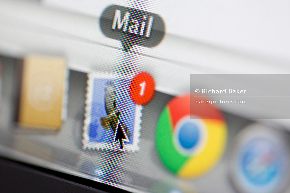 A detail from a computer screen of Apple's Mail icon.
