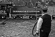 Durango & Silverton Narrow Guage railroad. Engine No. 473 stationed at the Silverton, Colorado depot.