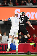 SYDNEY, AUSTRALIA - JULY 20:Leeds United defender Liam Cooper (6) and Western Sydney Wanderers player Mitchell Duke (12) go up for the ball during the club friendly football match between Leeds United and Western Sydney Wanderers FC on July 20, 2019 at Bankwest Stadium in Sydney, Australia. (Photo by Speed Media/Icon Sportswire)