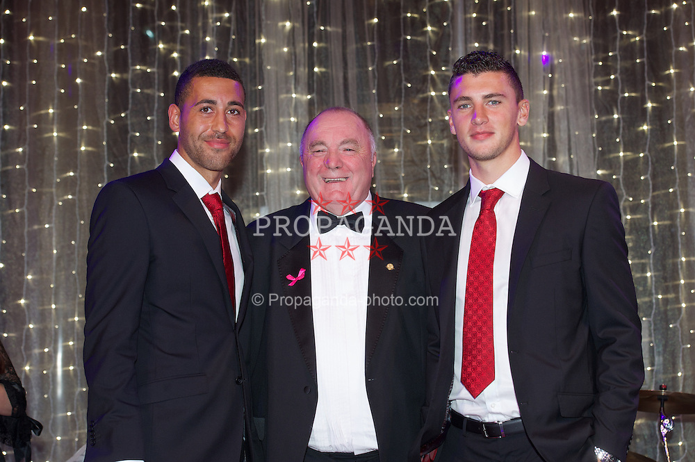 CARDIFF, WALES - Monday, October 8, 2012: Wales' FAW President Trevor Lloyd-Hughes with Lewin Nyatanga [l] and James Wilson [r] during the FAW Player of the Year Awards Dinner at the National Museum Cardiff. (Pic by David Rawcliffe/Propaganda)