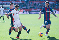 January 26, 2019 - Sevilla, Andalucia, Spain - Ben Yedder of Sevilla FC and Rober Pier and Jason of Levante UD competes for the ball during the La Liga match between Sevilla FC v Levante UD at the Ramon Sanchez Pizjuan Stadium on January 26, 2019 in Sevilla, Spain  (Credit Image: © Javier MontañO/Pacific Press via ZUMA Wire)