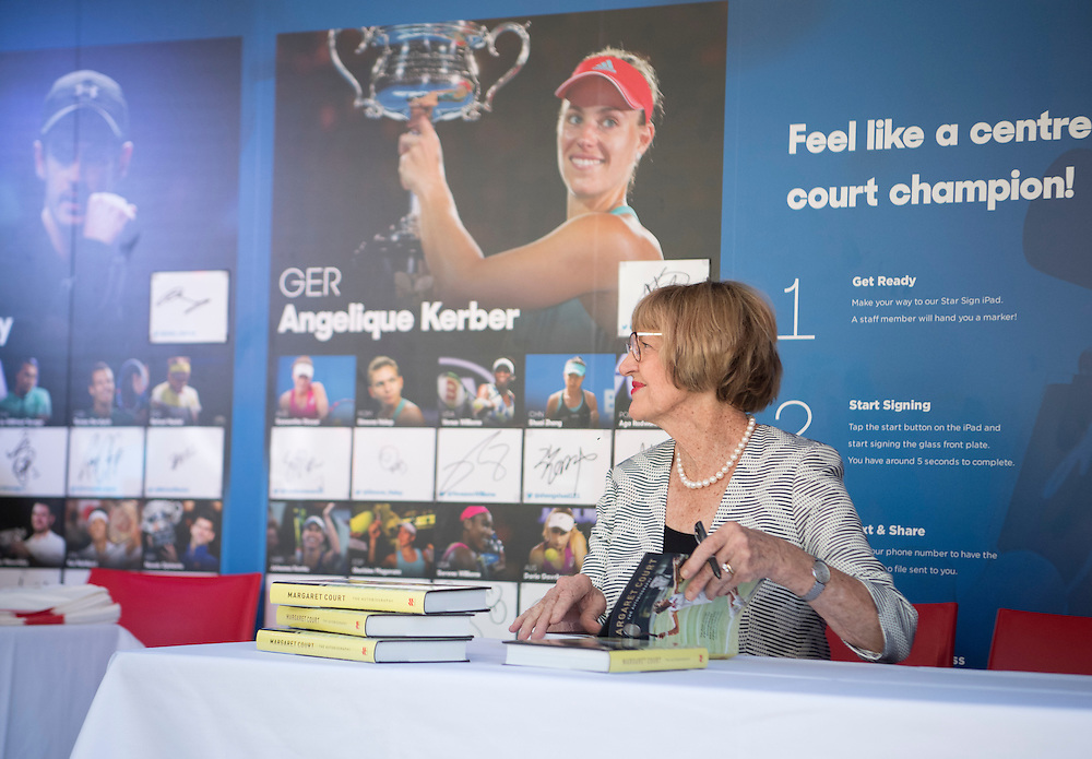 Margaret Court signs a book at the social park on day ten of the 2017 Australian Open at Melbourne Park on January 25, 2017 in Melbourne, Australia.<br /> (Ben Solomon/Tennis Australia)