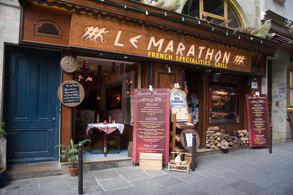 Latin Quarter restaurant Le Marathon on Rue Saint Severin, Paris, France<br />