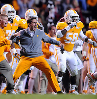 October 29, 2011: Tennessee Volunteers head coach Derek Dooley reacts to a fumble recovery during the game against the South Carolina Gamecocks at Neyland Stadium in Knoxville, Tenn. South Carolina defeated Tennessee by a score of 14 to 3.