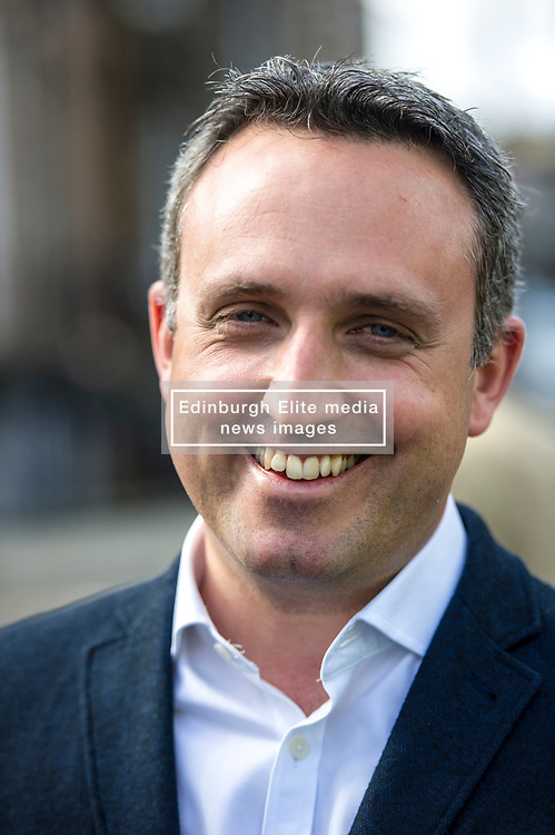 Pictured: Alex Cole-Hamilton, MSP<br /> Liberal Democrat leader Tim Farron MP visited Edinburgh today and joined local MSP Alex Cole-Hamilton and council candidates to campaign in the upcoming council election in StockbridgeGer Harley | EEm 13 April 2017