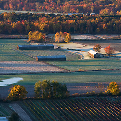 Farms in Whatley, Massachusetts as seen from South Sugarloaf Mountain in the Sugarloaf Mountain State Reservation in Deerfield, Massachusetts.