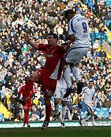 Photo: Steve Bond/Richard Lane Photography. Leeds United v Swindon Town. Coca Cola League One. 14/03/2009. Jermaine Beckford rises to score (R). Getting above Sean Morrison