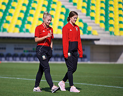 LARNACA, CYPRUS - Wednesday, March 7, 2018: Wales' Charlie Estcourt and Gwennan Davies before the Cyprus Women's Cup match between Wales and Austria on day nine of the Cyprus Cup tournament at the AEK Arena - Georgios Karapatakis. (Pic by David Rawcliffe/Propaganda)