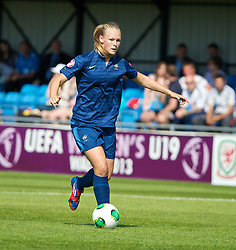 HAVERFORDWEST, WALES - Sunday, August 25, 2013: France's Charlotte Saint Sans Levacher in action against Wales during the Group A match of the UEFA Women's Under-19 Championship Wales 2013 tournament at the Bridge Meadow Stadium. (Pic by David Rawcliffe/Propaganda)