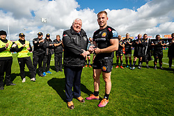 Sam Hill of Exeter Chiefs receives his Exeter Chiefs Centurion award from Tony Rowe OBE after making his 100th appearance against Harlequins - Mandatory by-line: Ryan Hiscott/JMP - 27/04/2019 - RUGBY - Sandy Park - Exeter, England - Exeter Chiefs v Harlequins - Gallagher Premiership Rugby