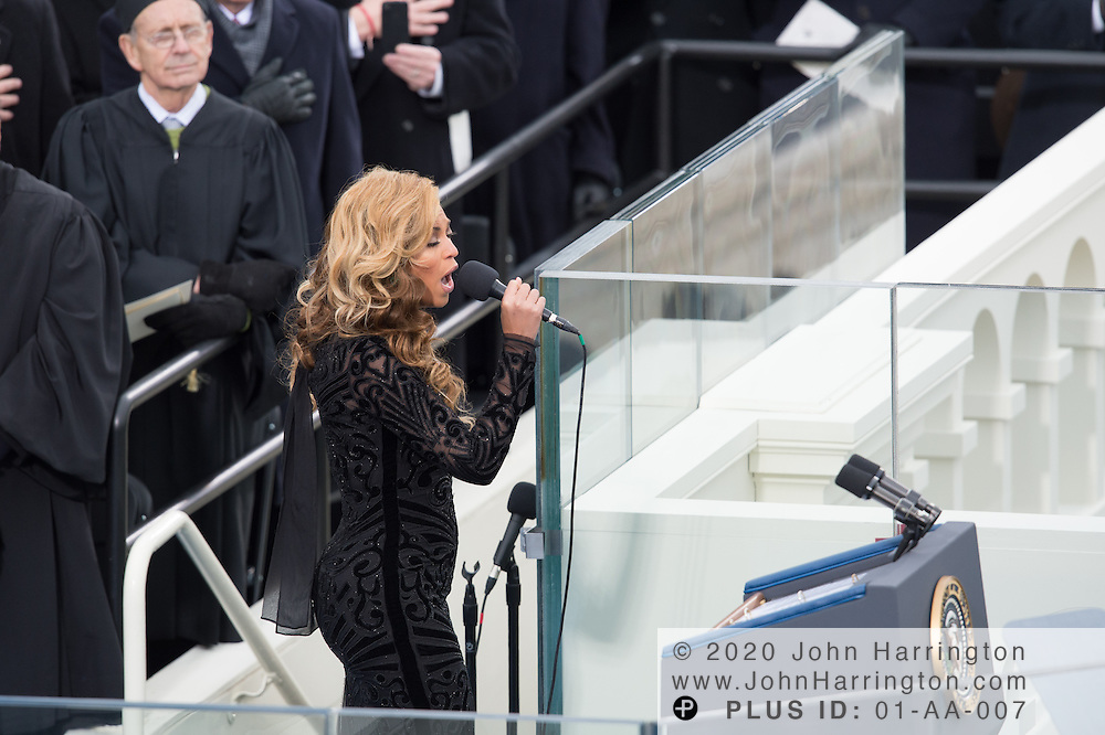 Beyonce singing during the 57th Presidential Inauguration of President Barack Obama at the U.S. Capitol Building in Washington, DC January 21, 2013.