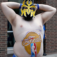 14 June 2012: A Thunder fan is seen outside the arena prior to Game 2 - Heat at Thunder - of the 2012 NBA Finals, at the Chesapeake Energy Arena, Oklahoma City, Oklahoma, USA.