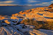 Sunset on rocky shoreline of Chedabucto Bay (Atlantic Island)<br /> Fox Island<br /> Nova Scotia<br /> Canada