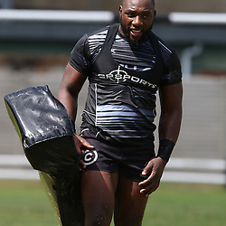 DURBAN, SOUTH AFRICA, Friday 15, January 2016 - Tendai Beast Mtawarira during The Cell C Sharks Pre Season training Friday 145h January 2016,for the 2016 Super Rugby Season at Growthpoint Kings Park in Durban, South Africa. (Photo by Steve Haag)<br /> images for social media must have consent from Steve Haag