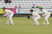 Harry Swindells, Paul Horton & Colin Ackemann during the Specsavers County Champ Div 2 match between Durham County Cricket Club and Leicestershire County Cricket Club at the Emirates Durham ICG Ground, Chester-le-Street, United Kingdom on 19 August 2019.