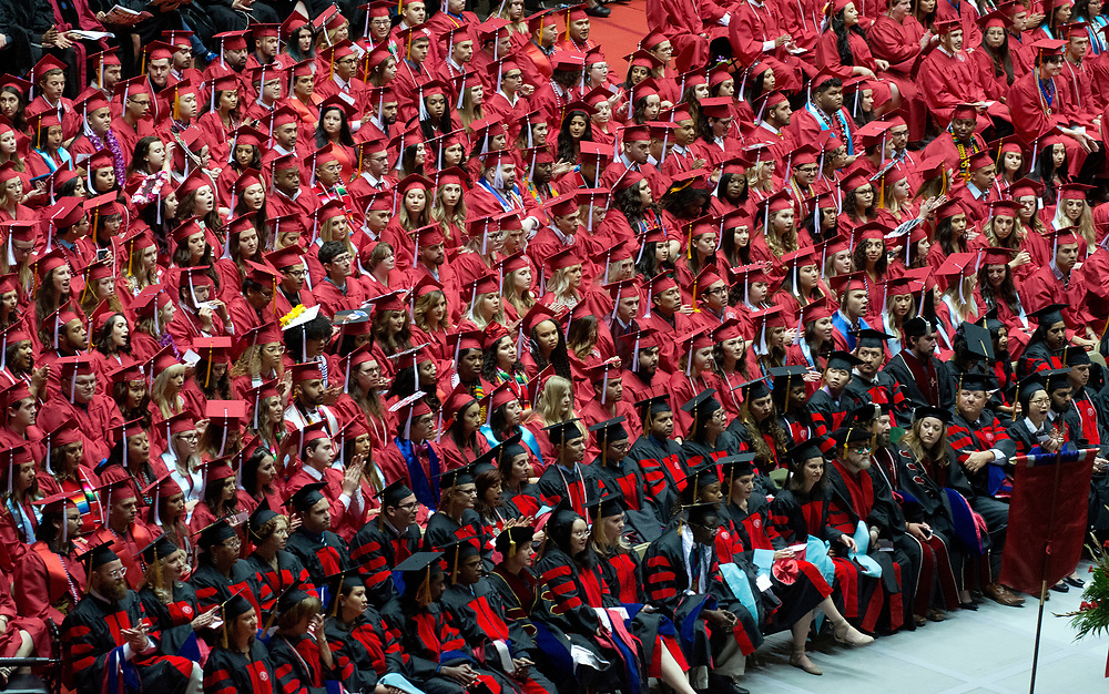 mkb051317a/metro/Marla Brose --  University of New Mexico graduates wait to receive their degrees during UNM's Commencement, Saturday, May 13, 2017, in Albuquerque, N.M.  (Marla Brose/Albuquerque Journal)