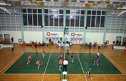 Players of ACH Volley (orange) and Salonit Anhovo (blue) at 4th and final match of Slovenian Voleyball  Championship  between OK Salonit Anhovo (Kanal) and ACH Volley (from Bled), on April 23, 2008, in Kanal, Slovenia. The match was won by ACH Volley (3:1) and it became Slovenian Championship Winner. (Photo by Vid Ponikvar / Sportal Images)/ Sportida)