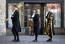 © Licensed to London News Pictures. 01/10/2018. London, UK. Lord Chancellor and Secretary of State for Justice David Gauke (right) attends The Judges Service in Westminster Abbey, to mark the start of the legal year. The service dates back to the Middle Ages, and is attended by Justices of the Supreme Court, Judges and members of the legal profession. Photo credit : Tom Nicholson/LNP