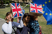 As a pro-EU Brexit Remainer walk past carrying an EU flag, two young women shade their eyes from strong sunshine using hessian shopping bags with Union Jacks, on 16th July 2019, in London, England.