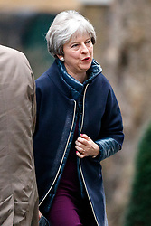© Licensed to London News Pictures. 08/01/2018. London, UK. Prime Minister Theresa May arrives at Downing Street as a cabinet reshuffle starts on Monday, 8 January 2018. Photo credit: Tolga Akmen/LNP