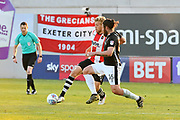 Jayden Stockley (11) of Exeter City battles for possession with Michael Bostwick (16) of Lincoln City during the EFL Sky Bet League 2 match between Exeter City and Lincoln City at St James' Park, Exeter, England on 17 May 2018. Picture by Graham Hunt.