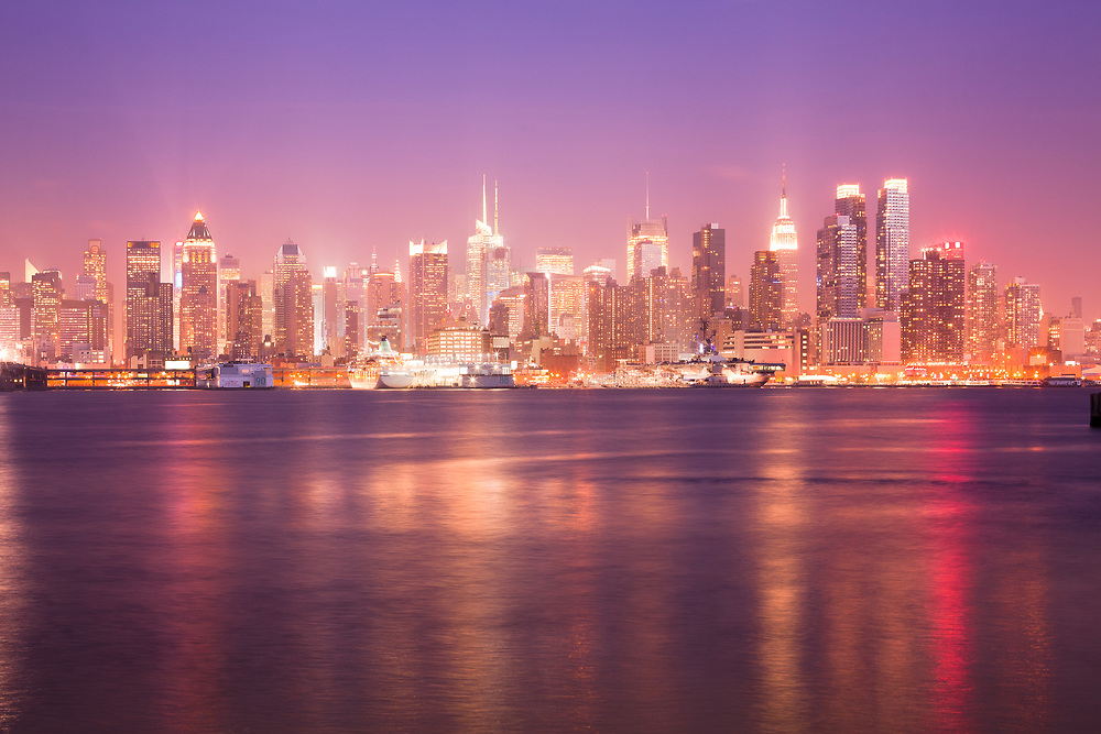 Reflection over the Hudson River and Skyline of midtown Manhattan, New York City, NY, USA