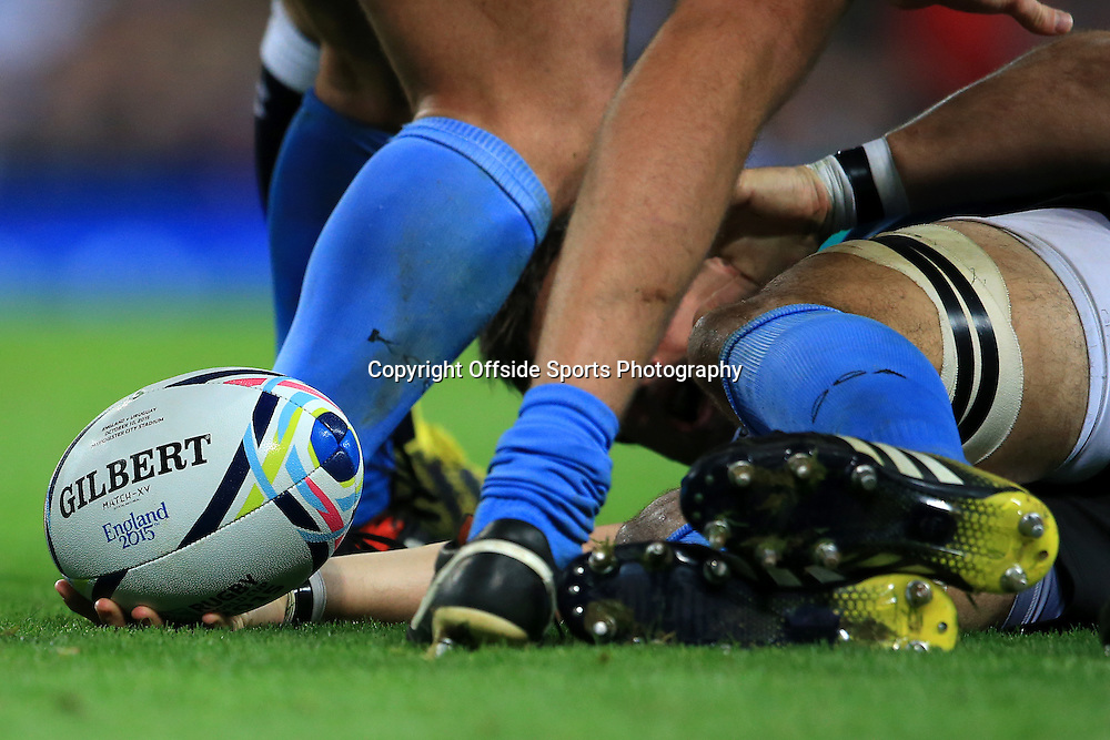 10th October 2015 - Rugby World Cup (Pool A) - England v Uruguay - The matchball pops out of the ruck - Photo: Simon Stacpoole / Offside.