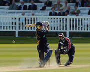 2005 Totesport League, Middlesex Crusader vs Hampshire Hawks at Lords, ENGLAND, 15.05.2005, Kevin Pietersen. Middlesex keeper Ben Scott....Photo  Peter Spurrier. .email images@intersport-images...