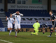 Dundee&rsquo;s Kane Hemmings celebrates after scoring the opening goal - Ross County v Dundee, Ladbrokes Premiership at Victoria Park<br /> <br />  - &copy; David Young - www.davidyoungphoto.co.uk - email: davidyoungphoto@gmail.com