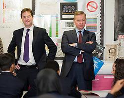 © Licensed to London News Pictures. 17/09/2012. London, UK.  Deputy Prime Minister Nick Clegg and Secretary of State for Education Michael Gove speaking to students during a visit to Burlington Danes Academy in West London on September 17, 2012. The education secretary has announced plans to launch a non-tiered new exam system that will replace GCSEs after the next general election in 2015. Photo credit : Ben Cawthra/LNP