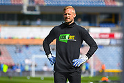 Kasper Schmeichel of Leicester City (1) warming up wearing a Kick It Out t-shirt during the Premier League match between Huddersfield Town and Leicester City at the John Smiths Stadium, Huddersfield, England on 6 April 2019.