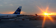 Kennedy Airport, NY: Wednesday, January 05, 2011-- The sun rises on a Jet Blue plane on the runway.  © Audrey C. Tiernan