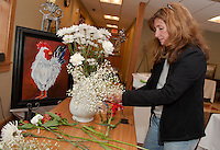 Opechee Garden Club preparation for Art 'n Bloom at Gilford Library.  Karen Bobotas/for the Laconia Daily Sun