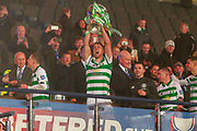 Kristoffer Ajer of Celtic FC lifts the Betfred Scottish League Cup following their 1-0 victory over Rangers FC at Hampden Park, Glasgow, United Kingdom on 8 December 2019.