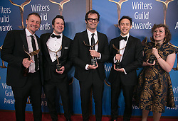 February 17, 2019 - Los Angeles, California, United States of America - (L-R) Alec Berg, Duffy Boudreau, Bill Hader, Ben Smith, and Emily Heller, winners of New Series, pose in the press room of the 2019 Writers Guild Awards at the Beverly Hilton Hotel on Sunday February 17, 2019 in Beverly Hills, California. JAVIER ROJAS/PI (Credit Image: © Prensa Internacional via ZUMA Wire)