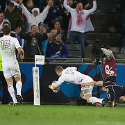 Chris Ashton, England, scores in the corner for the match winning try  during the England V Scotland Pool B match during the IRB Rugby World Cup tournament. Eden Park, Auckland, New Zealand, 1st October 2011. Photo Tim Clayton...