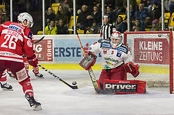 13.3.2018, Stadthalle, Klagenfurt, AUT, EBEL, EC KAC vs HCB Südtirol, 3. Viertelfinalspiel Playoff, im Bild John Rheault (EC KAC, #26), Pekka Toukkola (HCB-Südtirol Alperia, #3) // during the Erste Bank Eishockey League 3rd Quaterfinal match between EC KAC vs HCB Südtirol at the City Hall in Klagenfurt, Austria on 2018/03/13. EXPA Pictures © 2018, PhotoCredit: EXPA/ Gert Steinthaler