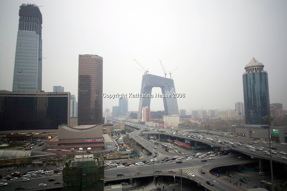 BEIJING, MARCH 21, 2008 :  a view of the newly built CCTV tower in the Central Business District.