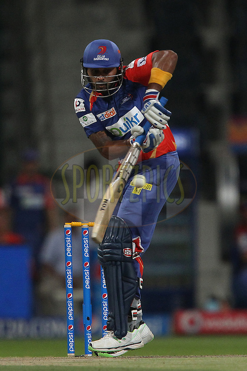 Murali Vijay of the Delhi Daredevils during match 8 of the Pepsi Indian Premier League 2014 between the Chennai Superkings and The Delhi Daredevils held at the Zayed Cricket Stadium, Sharjah, United Arab Emirates on the 21st April 2014<br /> <br /> Photo by Ron Gaunt / IPL / SPORTZPICS