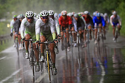 Riders of team Perutnina Ptuj (in front Gregor Gazvoda of Slovenia (Perutnina Ptuj) and Kristjan Fajt of Slovenia (Perutnina Ptuj)) leading the peloton in last 4th stage of the 15th Tour de Slovenie from Celje to Novo mesto (157 km), on June 14,2008, Slovenia. (Photo by Vid Ponikvar / Sportal Images)/ Sportida)