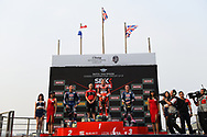 BURIRAM, THAILAND - MARCH 25: Top 3 Riders: Chaz Davies (#7) of Great Britain and Aruba.it Racing – Ducati, Michael van der Mark (#60) of Netherlands and Pata Yamaha Official WorldSBK Team, Alex Lowes (#22) of United Kingdom and Pata Yamaha Official WorldSBK Team on the podium during Day 3 at the Motul Thai Round Superbike World Championship 2018, Chang International Circuit, Buriram, Thailand on March 25, 2018.<br /> .<br /> .<br /> .<br /> (Photo by: Naratip Golf Srisupab/SEALs Sports Images)<br /> .<br /> Any image use must include a mandatory credit line adjacent to the content which should read: Naratip Golf Srisupab/SEALs Sports Images
