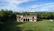 Aerial view of the Casa Grande de Palave, or Ingenio de Palave, late 16th century colonial mansion owned by an important sugar refining family, in Palave, Manoguayabo, Santo Domingo Este, a suburb of Santo Domingo, Dominican Republic, in the Caribbean. The site was used for the processing of sugar cane but has fallen into disrepair. Picture by Manuel Cohen