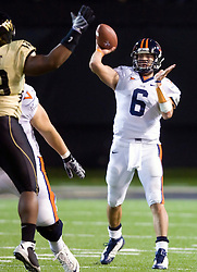Virginia quarterback Marc Verica (6) throws a pass against WFU.  The Wake Forest Demon Deacons defeated the Virginia Cavaliers 24-17 in NCAA Division 1 Football at BB&T Field on the campus of Wake Forest University in Winston-Salem, North Carolina on November 8, 2008.