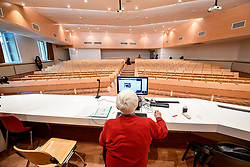 March 5, 2020,  Milan, Italy: A hydraulics professor from Milan Polytechnic in an empty classroom teaching a lesson via webcam to comply with the new measures against the spread of coronavirus. (Credit Image: © Claudio Furlan/LaPresse via ZUMA Press)