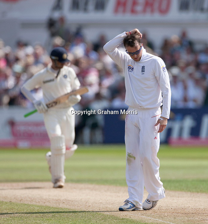 Bowler Graeme Swann down during the second npower Test Match between England and India at Trent Bridge, Nottingham.  Photo: Graham Morris (Tel: +44(0)20 8969 4192 Email: sales@cricketpix.com) 30/07/11