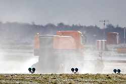 © Licensed to London News Pictures. 17/03/2018. Leeds UK. A snowplow clears the runway at Leeds Bradford airport this morning as the Beast from the East 2 start's to batter Britain. Photo credit: Andrew McCaren/LNP