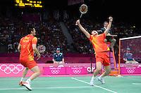 Cai and Fu, China, Celebrate win against, Koo and Tan of Malaysia, Mens Doubles Semi Final, Badminton London Wembley 2012