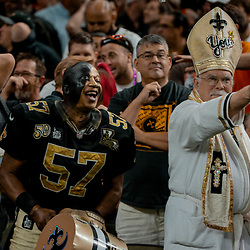 Sep 16, 2018; New Orleans, LA, USA; New Orleans Saints fans laugh after Cleveland Browns place kicker Zane Gonzalez (not pictured) misses a field goal during the fourth quarter of a game at the Mercedes-Benz Superdome. The Saints defeated the Browns 21-18. Mandatory Credit: Derick E. Hingle-USA TODAY Sports
